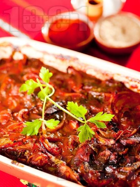 Пилешки дробчета на фурна с домати и лук на фурна - снимка на рецептата